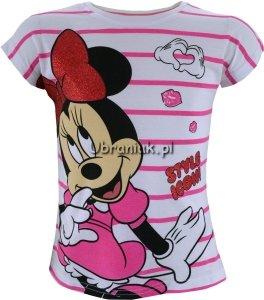 Bluzka Myszka Minnie biała w różowe paski