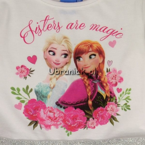 Sukienka Frozen Elsa i Anna biało-różowa