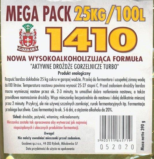 """Drożdże """"gorzelnicze"""" 1410 MEGA PACK 390g"""