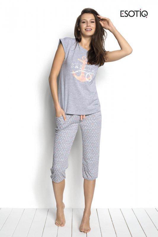 Esotiq Sailor 34221-90X, 34223-90X Šedé Dámské pyžamo