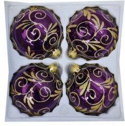 Bombki dekorowane 10 cm 4 szt fiolet błysk