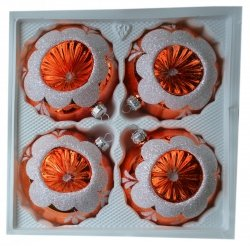 Bombki reflektor 10 cm 4 szt pomarańczowe