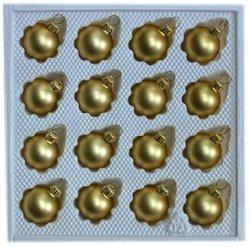 Bombki gładkie 3 cm 16 szt złoty mat