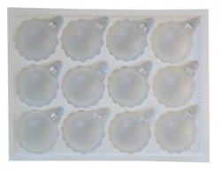 Bombki gładkie 6 cm 12 szt biały transparentny mat
