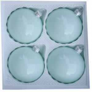 Bombki gładkie 8cm 4szt błękitna porcelana