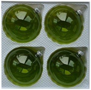Bombki gładkie 8 cm 4 szt zielone przezroczyste