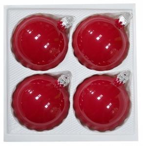 Bombki gładkie 8cm 4szt czerwona porcelana