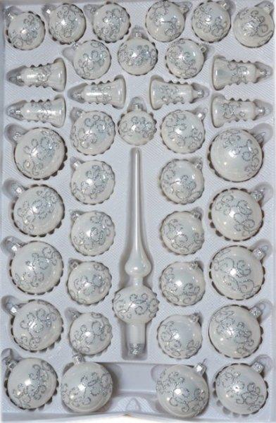 Zestaw dekorowany 39 szt biały opal