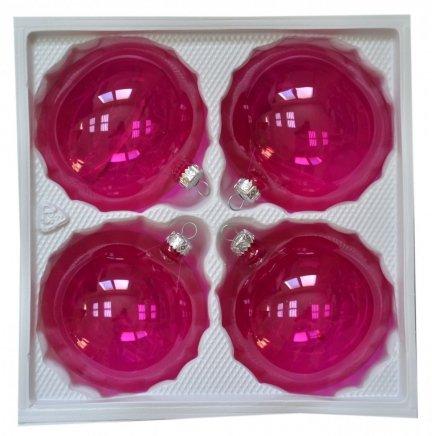 Bombki przezroczyste 10cm 4 szt róż
