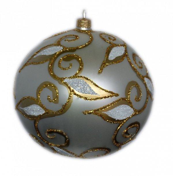Bombka dekorowana duża 15 cm  biało-złota