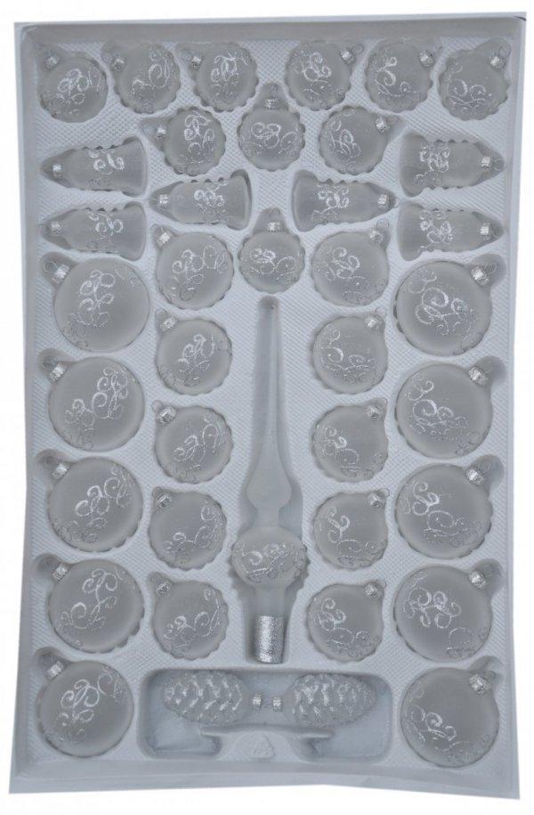 Zestaw 39szt dekorowany biały mat transparentny srebrna dekoracja