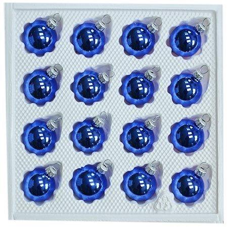 Bombki gładkie 3 cm 16 szt niebieski błysk
