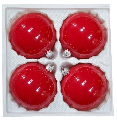 Bombki 10 cm 4 szt czerwona porcelana