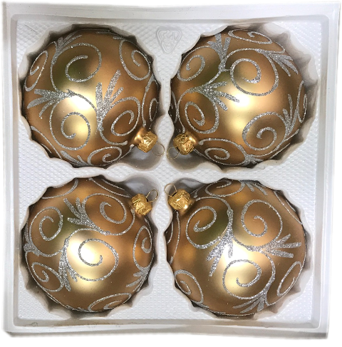 Bombki dekorowane10 cm 4 szt złoty mat