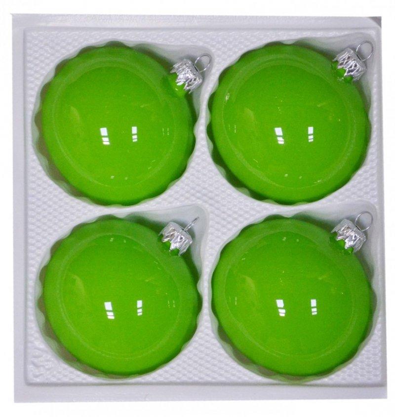 Bombki gładkie 8 cm 4 szt zielona porcelana