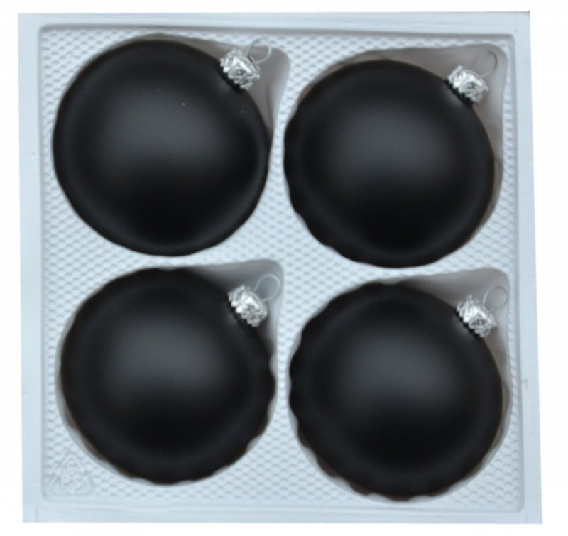 Bombki gładkie 8cm 4szt  czarny mat