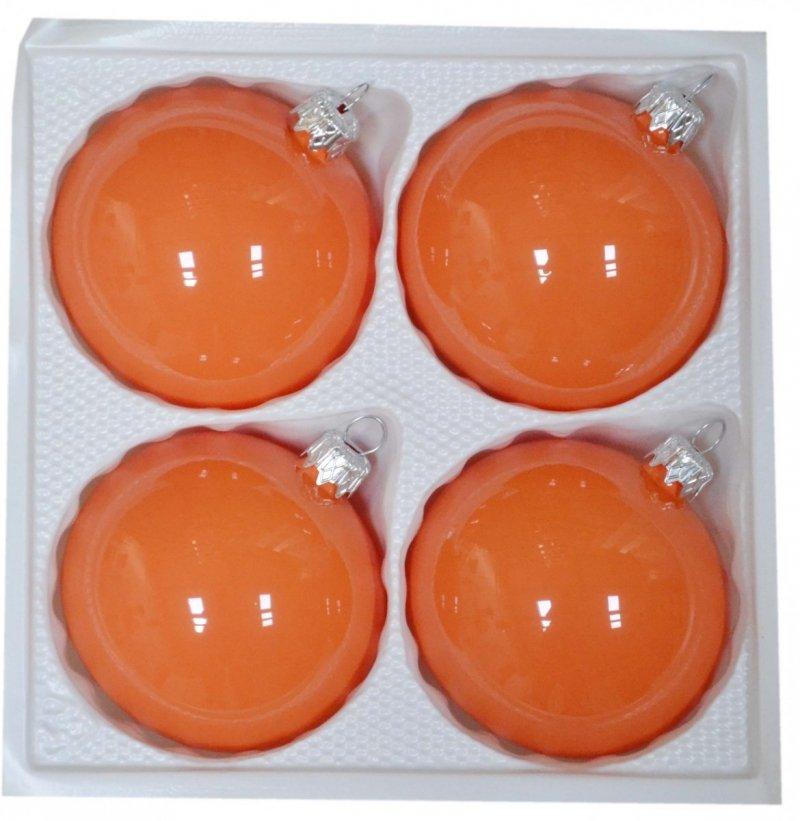 Bombki gładkie 8 cm 4 szt pomarańczowa porcelana