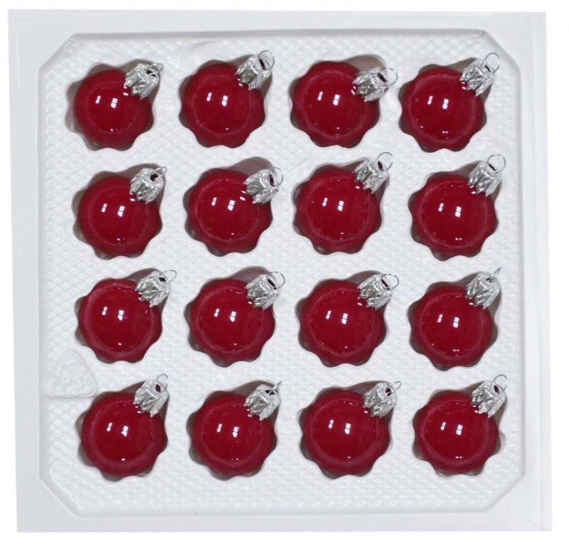 Bombki gładkie 3 cm 16 szt czerwona porcelana