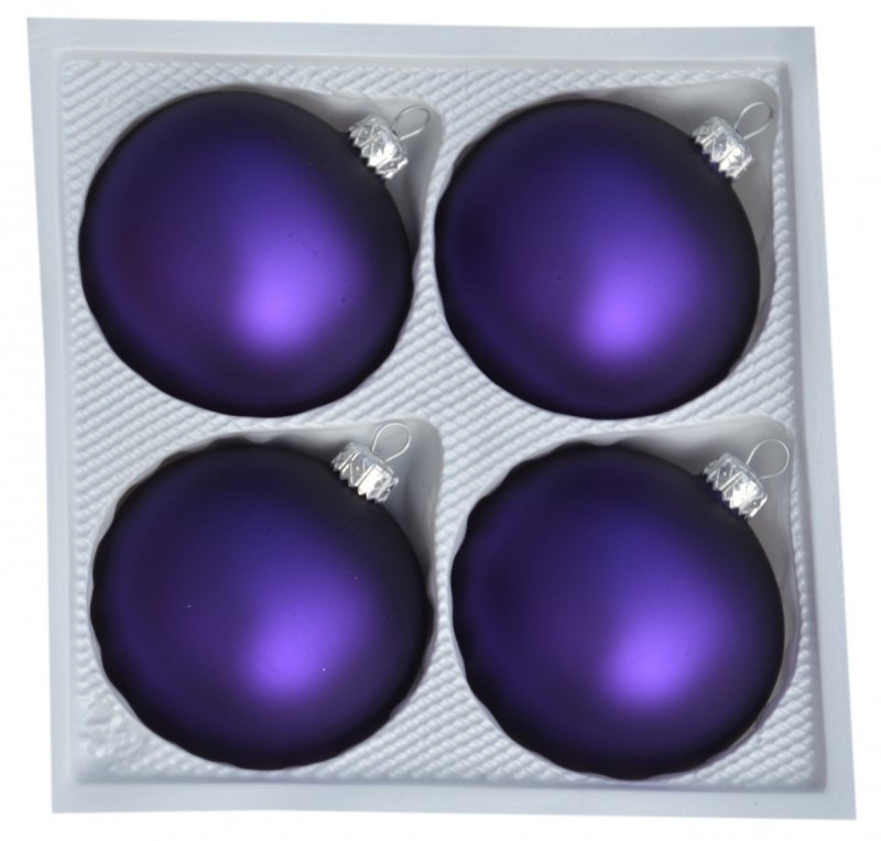 Bombki gładkie 8cm 4szt  fioletowy mat