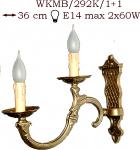 Kinkiet mosiężny JBT Stylowe Lampy WKMB/292K/1+1