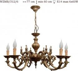 Żyrandol mosiężny JBT Stylowe Lampy WZMB/312/6