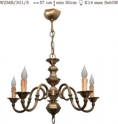 Żyrandol mosiężny JBT Stylowe Lampy WZMB/301/5