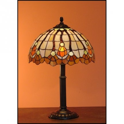 Lampka witrażowa nocna biurkowa AKSAMIT H-48 cm