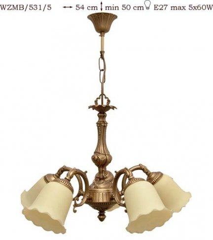 Żyrandol mosiężny JBT Stylowe Lampy WZMB/531/5