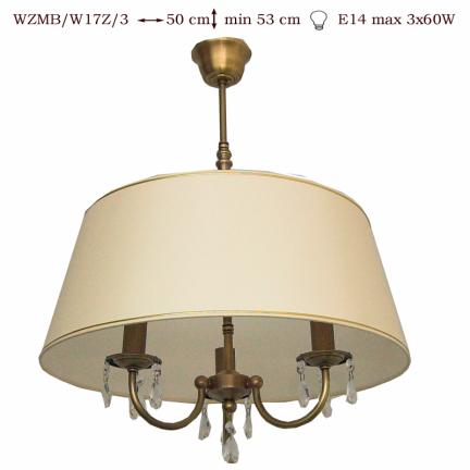 Żyrandol mosiężny JBT Stylowe Lampy WZMB/W17Z/3