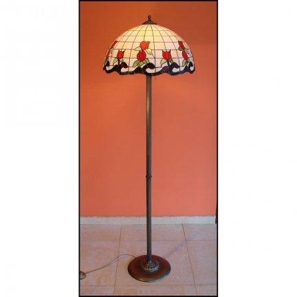Lampa witrażowa podłogowa stojąca ROSA