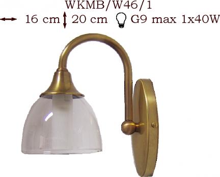 Kinkiet mosiężny JBT Stylowe Lampy WKMB/W46/1