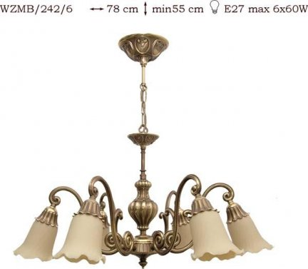 Żyrandol mosiężny JBT Stylowe Lampy WZMB/242/6