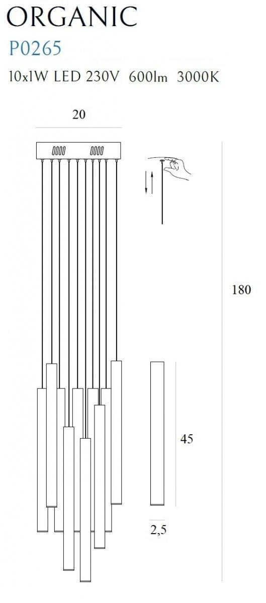 MAXLIGHT P0265 LAMPA WISZĄCA ORGANIC 10x ZŁOTA MAŁA