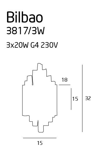 Bilbao 3 kinkiet mały 3817/3W MAXlight