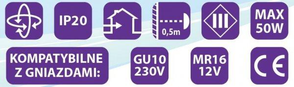 Oprawa halogenowa sufitowa ONYKS kwadrat ruchoma BS Biała LUX01281
