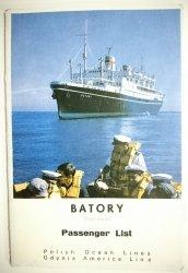 M.S. BATORY - List of Passengers 26-28 th May, 1968