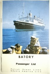 M.S. BATORY - List of Passengers 20 th September, 1968