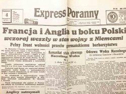 EXPRESS PORANNY NR 244 ROK VIII PONIEDZIAŁEK 4 WRZEŚNIA 1939 R. REPRINT