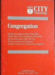 CITY UNIVERSITY. CONGREGATION 1987