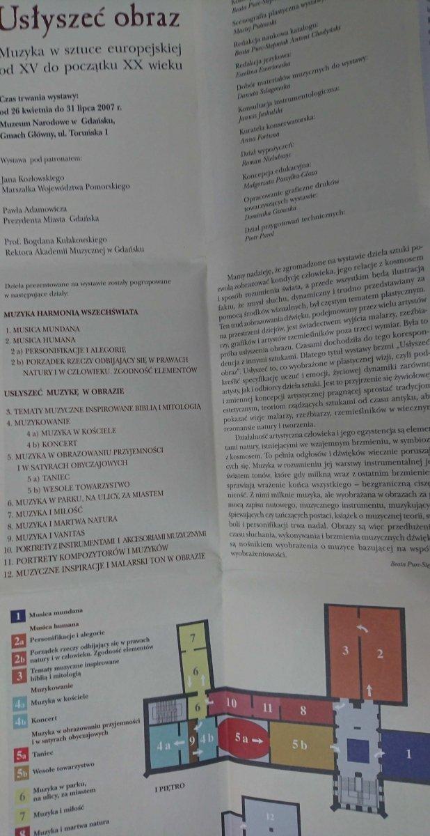 USŁYSZEĆ OBRAZ. MUZYKA W SZTUCE EUROPEJSKIEJ 2007