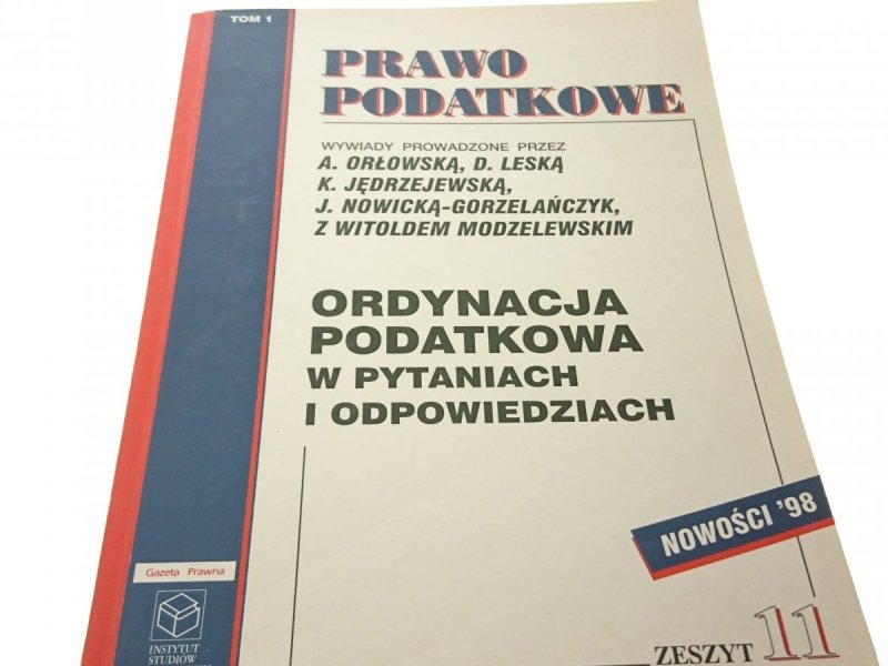 ORDYNACJA PODATKOWA W PYTANIACH... TOM 1 1997