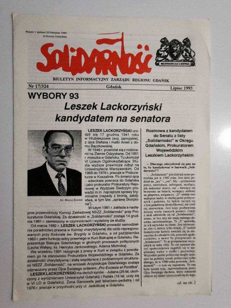 SOLIDARNOŚĆ NR 17/324 GDAŃSK LIPIEC 1993