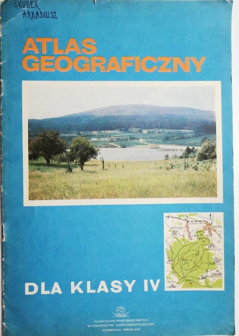 ATLAS GEOGRAFICZNY DLA KLASY IV 1986