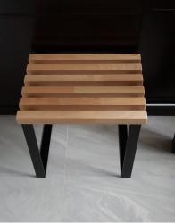 Stołek metalowo drewniany  N