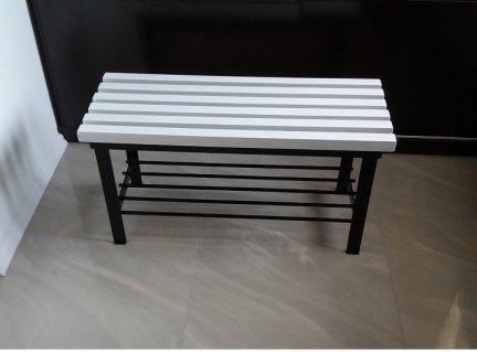 Ławka z półką  - biała
