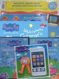 Świnka Peppa magazyn Wydanie specjalne zestaw 2 x DVD (Wesołe miasteczko i Księżniczka Peppa) + Książeczki z Półeczki 36 Wyścigówka George'a + zabawka