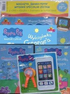 Świnka Peppa Wydanie specjalne zestaw 2 x DVD (Wesołe miasteczko i Księżniczka Peppa) + książka + zabawka