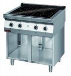 Kuchnia indukcyjna 900 mm 4x5,0kW na podstawie szafkowej otwartej  KROMET 900.KE-4i/900.S LINIA 900