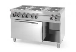 Kuchnia elektryczna 6-płytowa Kitchen Line z konwekcyjnym piekarnikiem elektrycznym GN 1/1 HENDI 226247 226247