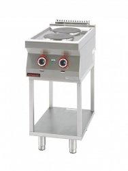 Kuchnia elektryczna 2 płyty okrągłe 2x2,6kW na podstawie szkieletowej  KROMET 700.KE-2.T LINIA 700